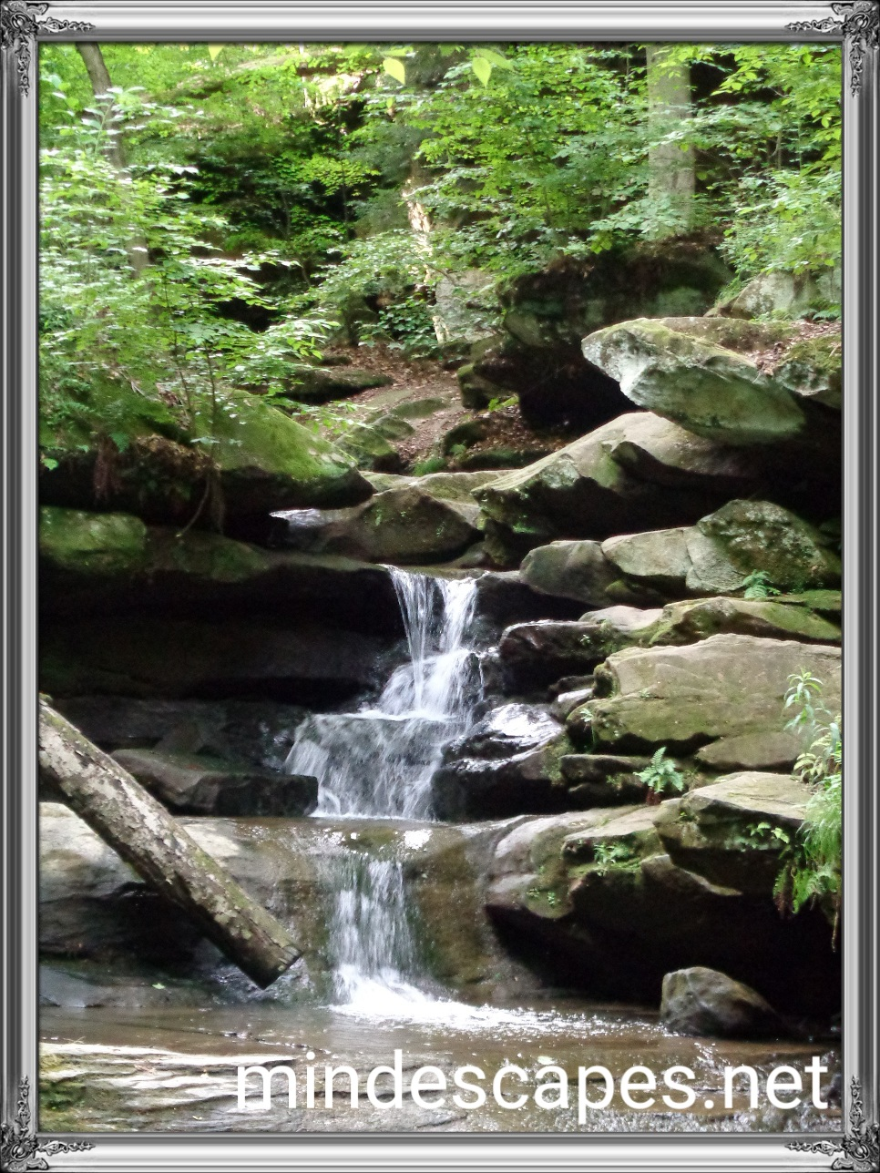 a gentle tiered waterfall