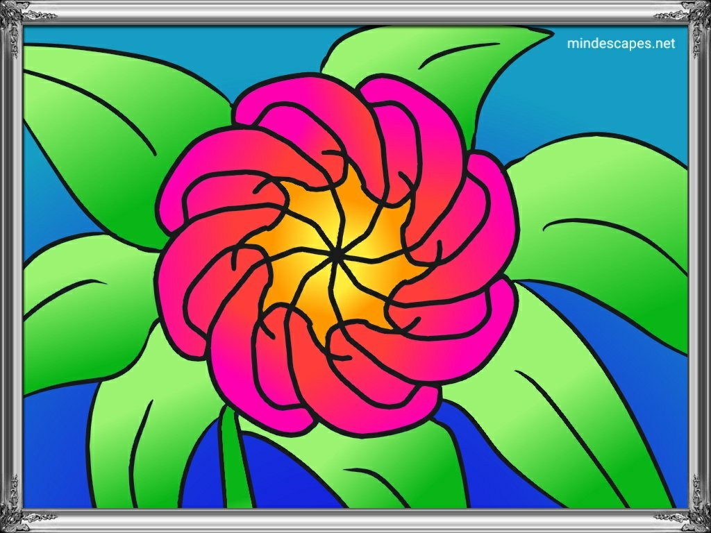 Colorful flower draw with mediaBang paint