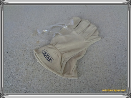safety glasses and leather work gloves