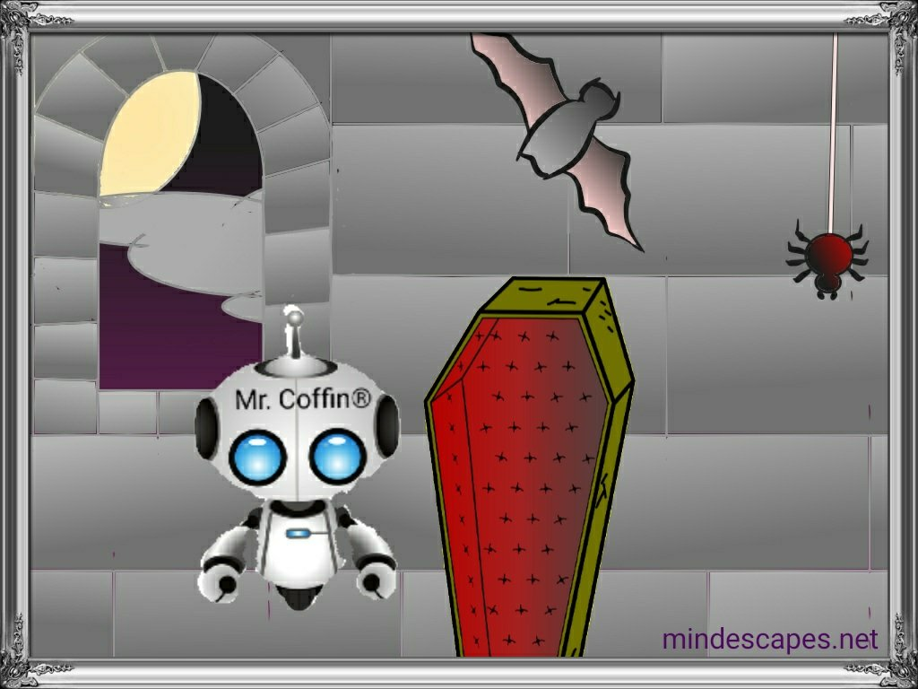 Robot coffin attendant in castle beside casket with bat and spider.