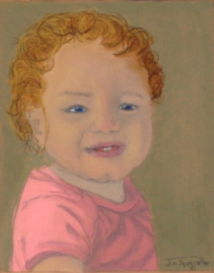 Pastel - Portrait of an infant girl