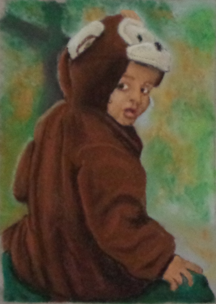 Pastel Portrait - A girl in a monkey costume looks back at the viewer.