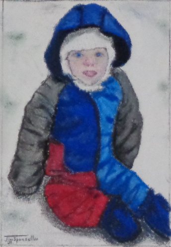 Pastel Painting of a boy in the snow