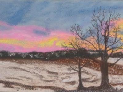 Snowy landscape in soft pastel